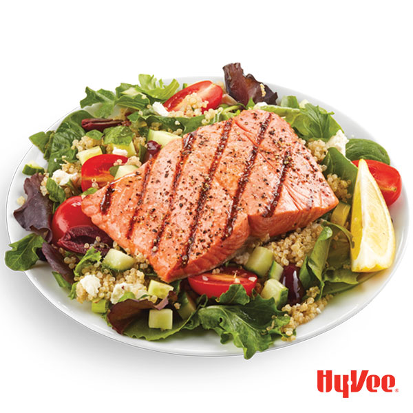 Grilled Salmon With Chilled Quinoa Salad Hy Vee